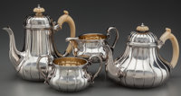 A Garrards Silver, Silver Gilt, and Ivory Tea and Coffee Service, London, England, circa 1851-1852 Marks: (lion pa