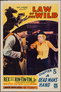 """Law of the Wild (Mascot, 1934). One Sheet (27"""" X 41"""") Chapter 5 --""""A Dead Man's Hand."""" Serial"""