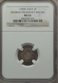India:British India, India: British India. Madras Presidency 2 Fanams ND (1808) MS63 NGC,...