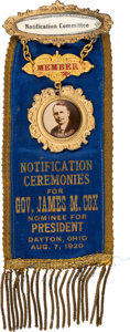 Political:Pinback Buttons (1896-present), James M. Cox: A Rare Notification Day Badge in AmazingCondition....
