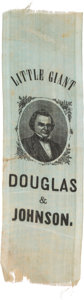 """Political:Ribbons & Badges, Stephen Douglas: A Rare and Desirable 1860 Silk Ribbon Identifying Him as the """"Little Giant.""""..."""