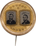 Political:Ferrotypes / Photo Badges (pre-1896), Grant & Colfax: A Stunning 1868 Jugate Campaign Ferrotype....