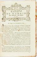 Books:Periodicals, [Bound Periodical]. Gazeta de Madrid, Nos. 1-52. January 2nd - June 29th, 1781. Text in Spanish. ...