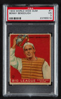 Baseball Cards:Singles (1930-1939), 1933 World Wide Gum Benny Bengough #1 PSA VG 3....
