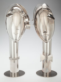 FRANZ HAGENAUER (Austrian, 1906-1986) Two Heads, circa 1950 Nickeled metal 20-1/2 inches high (52