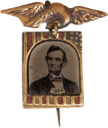 Political:Ferrotypes / Photo Badges (pre-1896), Abraham Lincoln: A Charming and Rare 1864 Ferrotype CampaignBadge....