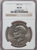 Eisenhower Dollars: , 1977 $1 MS66 NGC. NGC Census: (303/8). PCGS Population (826/14). Mintage: 12,596,000. Numismedia Wsl. Price for problem fre...