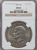 Eisenhower Dollars: , 1977 $1 MS66 NGC. NGC Census: (302/8). PCGS Population (827/14). Mintage: 12,596,000. Numismedia Wsl. Price for problem fre...