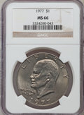 Eisenhower Dollars: , 1977 $1 MS66 NGC. NGC Census: (303/8). PCGS Population (827/14). Mintage: 12,596,000. Numismedia Wsl. Price for problem fre...