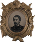 Political:Ferrotypes / Photo Badges (pre-1896), George C. McClellan: A Fine Oval Ferrotype in Fancy Brass ShellFrame....