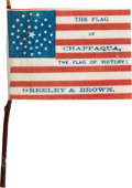 Political:Textile Display (pre-1896), Greeley & Brown: A Fantastic Miniature Cloth Campaign Flag forthe Sought-After Ticket.... (Total: 2 Items)