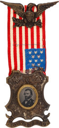 "Political:Ferrotypes / Photo Badges (pre-1896), Ulysses S. Grant: A Wonderful Example of the Classic ""Boys in Blue""Ferrotype Badge...."