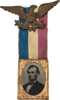 Political:Ferrotypes / Photo Badges (pre-1896), Abraham Lincoln: An Attractive 1864 Campaign Ferrotype Badge....