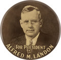 Political:Pinback Buttons (1896-present), Alfred M. Landon: A Spectacular Nine-Inch 1936 Campaign Button....
