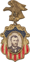 Political:Ferrotypes / Photo Badges (pre-1896), Ulysses S. Grant: A Very Colorful 1868 Campaign Badge inExceptional Condition....