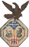 "Political:Ferrotypes / Photo Badges (pre-1896), Harrison & Morton: ""Our Champions,"" The Best Jugate Badge forthis 1888 Republican Ticket...."