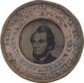 Political:Ferrotypes / Photo Badges (pre-1896), Abraham Lincoln: A Most Unusual Variant of the Perpetual Calendar,with a Bearded Ferro Portrait We Have Not Seen Previously....