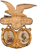 Political:Ferrotypes / Photo Badges (pre-1896), Harrison-Reid: A Very Choice, Fancy 1892 Jugate Badge....