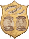 "Political:Ferrotypes / Photo Badges (pre-1896), Tilden & Hendricks: The Sought-after ""Centennial Candidates for1876"" Jugate Pin in Superb Condition...."