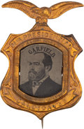 Political:Ferrotypes / Photo Badges (pre-1896), James A. Garfield: A Dramatic Large 1880 Campaign Ferrotype....