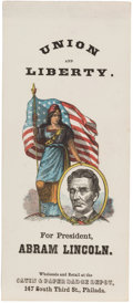 Political:Ribbons & Badges, Abraham Lincoln: Great Color on this 1864 Paper Ribbon or Bookmark....