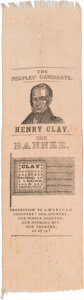 Political:Ribbons & Badges, Henry Clay: A Distinctive 1844 Ribbon Picturing a Clay and Frelinghuysen Flag....