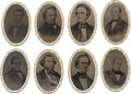 Political:Ferrotypes / Photo Badges (pre-1896), 1860 Candidates: A Spectacular Set of Ferrotype Buckles Picturingthe Four Tickets of Presidential and Vice Presidential Candi...