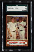 Baseball Cards:Singles (1960-1969), 1962 Topps Mantle/Mays Managers' Dream #18 SGC 84 NM 7....