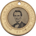 Political:Ferrotypes / Photo Badges (pre-1896), Lincoln & Hamlin: A Virtually Mint Example of this Popular 1860Ferrotype Variety....