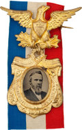 Political:Ferrotypes / Photo Badges (pre-1896), Rutherford B. Hayes: A Stunning 1876 Ferrotype Badge in Gleaming,Pristine Condition....