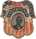 Political:Ferrotypes / Photo Badges (pre-1896), Abraham Lincoln: One of the Top 1864 Ferrotype Pins....