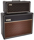 Musical Instruments:Amplifiers, PA, & Effects, 1968 Vox AC-50 Black Guitar Amplifier Head and Cabinet, Serial #s 05253 and 21915....