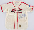 Baseball Collectibles:Uniforms, Stan Musial Signed, Stat Inscribed St. Louis Cardinals Jersey....