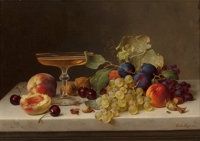 EMILIE PREYER (German, 1849-1930) Still Life with Summer Fruits and Champagne, 1875 Oil on canvas