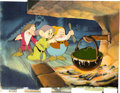Animation Art:Production Cel, Snow White and the Seven Dwarfs Grumpy, Dopey, and Happy Production Cel and Key Master Background Overlay Setup (Walt ...