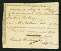 Colonial Notes:Massachusetts, Massachusetts Treasury Tax Collector's Certificate £17.14s July 13,1786 Anderson MA-39 Very Fine.. ...
