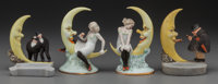 FOUR SCHAFER & VATER BISQUE MOON FIGURES, circa 1920 5-1/4 inches high (13.3 cm) (highest)  PROPERTY FROM TH
