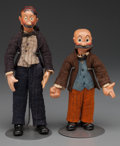 """Miscellaneous, """"MUTT AND JEFF,"""" TWO SWISS COMPOSITION CHARACTER DOLLS BY BUCHERER,circa 1930. 7-1/2 inches high (19.1 cm) (Mutt). PROPER... (Total: 2Items)"""