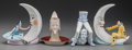 Ceramics & Porcelain, FOUR SCHAFER & VATER ATTRIBUTED PORCELAIN VASES AND CHAMBER STICKS, circa 1920. 6-1/2 inches high (16.5 cm) (highest). FRO... (Total: 4 Items)