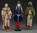 Decorative Arts, Continental:Other , THREE CONTINENTAL COMPOSITION GENTLEMEN DOLLS, circa 19th Century.11-1/2 inches high (29.2 cm) (highest). PROPERTY FROM T... (Total:3 Items)