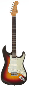 Musical Instruments:Electric Guitars, 1963 Fender Stratocaster Sunburst Solid Body Electric Guitar,Serial # L19040....