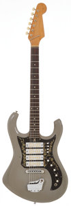 Musical Instruments:Electric Guitars, 1960's Teisco Del Rey Apollo Grey Solid Body Electric Guitar....