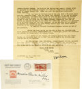 """Autographs:Celebrities, Commemorative Pony Express Cover Signed By Last Surviving Rider,""""Broncho Charlie Miller,"""" 1940. A 3-cent stamp commemor...(Total: 1 Item)"""