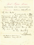 """Autographs:U.S. Presidents, Theater Owner John T. Ford Autograph Letter Signed, """"J.T.Ford"""", one page on two-color """"Ford's Opera Houses""""letterhead,..."""
