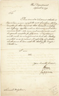 "Autographs:Statesmen, Henry Knox Letter Signed ""H. Knox"" as Secretary of War. Onepage, 7.75"" x 12.5"", ""War Department"" [Philadelphia], Se..."