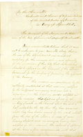 "Autographs:Statesmen, Savannah: 1826 Memorial to the Congress, nine pages, 7.5"" x 12.5"", front and verso. Savannah, Georgia, [1826]. A contemporar..."