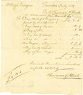 "Military & Patriotic:Revolutionary War, (Slavery in the American Revolution) Fine Content ManuscriptDocument Signed ""Furman & Hunt"". One page, 6"" x 7"",..."