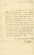 "Autographs:Military Figures, Arthur St. Clair Autograph Letter Signed ""Ar St. Clair,"" one page, 7.75"" x 12.5"". Carlisle, December 2, 1773. Addressed ..."