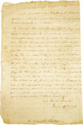 "Autographs:Military Figures, John Stark Manuscript Letter Signed to New York Governor GeorgeClinton, two pages, 8"" x 12"", front and verso. Albany, Septe..."