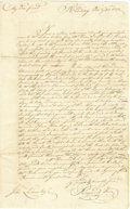 "Autographs:Statesmen, Slavery: 1777 Philadelphia. Autograph Letter Signed ""ReynoldKeen,"" one page, 8"" x 13"". Reading, October 31, 1777. Integ..."